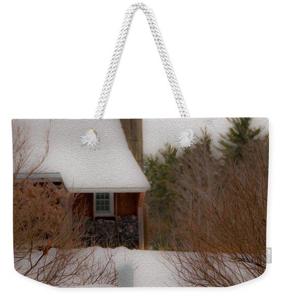 Tuftonboro Farm In Snow Weekender Tote Bag