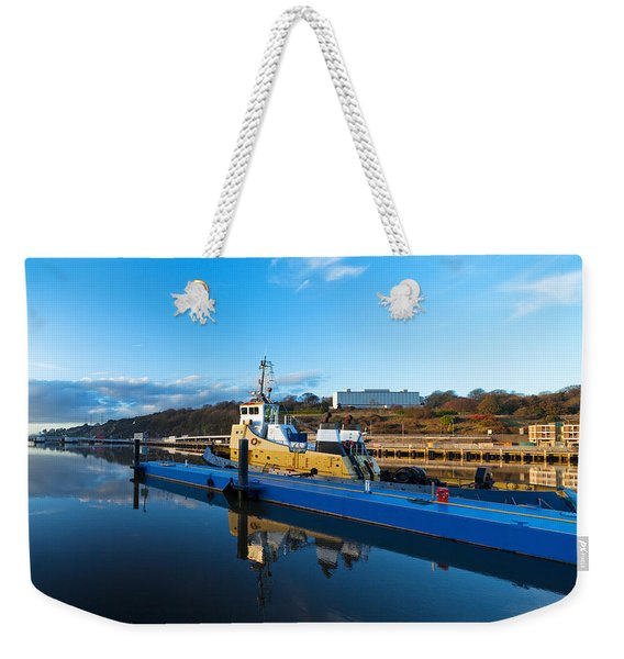 Tugboat Moored At The River Suir Weekender Tote Bag