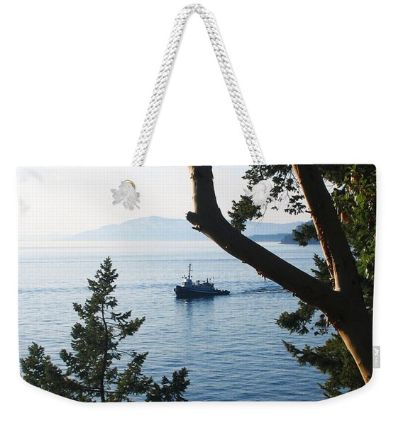 Weekender Tote Bag featuring the photograph Tugboat Passes by Lorraine Devon Wilke
