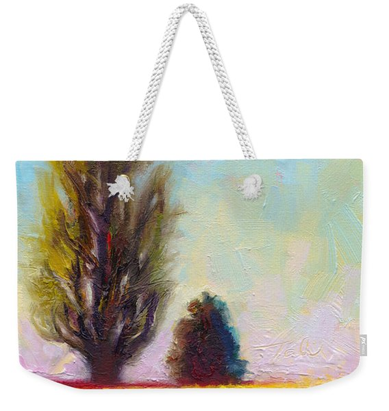 Weekender Tote Bag featuring the painting Tulip Sentinels by Talya Johnson
