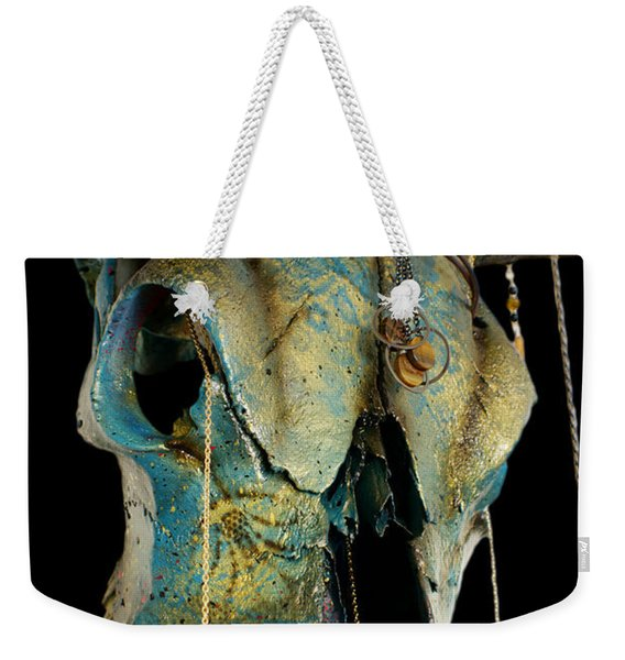 Turquoise And Gold Illuminating Steer Skull Weekender Tote Bag