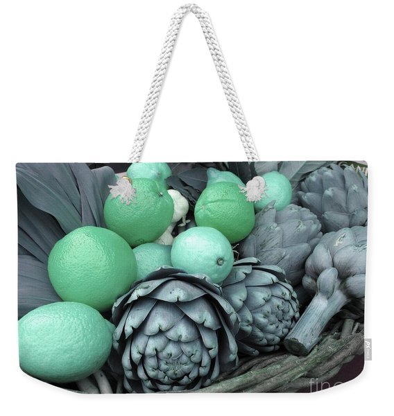 Turquoise Artichokes Lemons And Oranges Weekender Tote Bag
