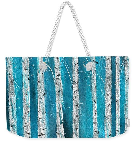 Turquoise Birch Trees II- Turquoise Art Weekender Tote Bag