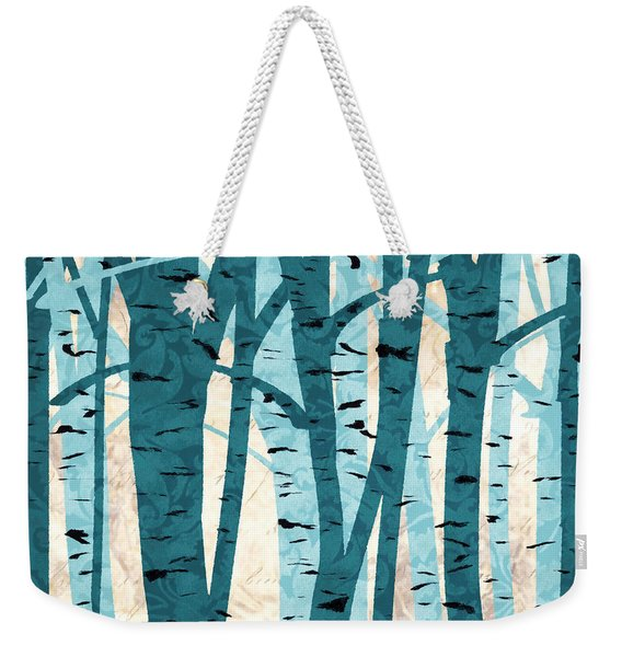 Turquoise Birch Trees Weekender Tote Bag