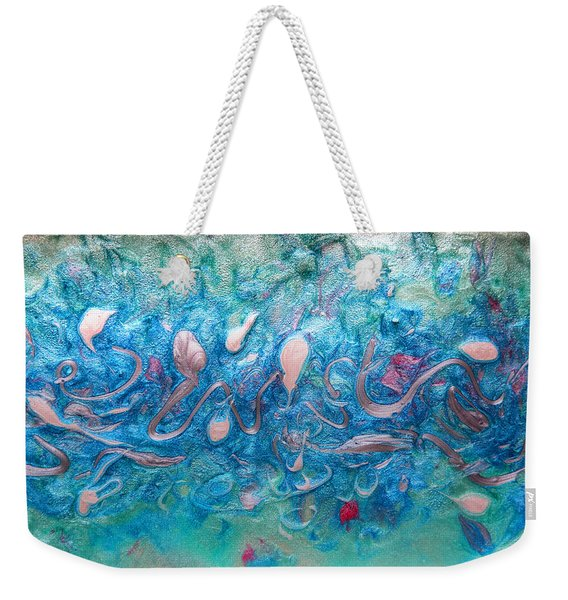 Turquoise Blue Sea Abstract Weekender Tote Bag