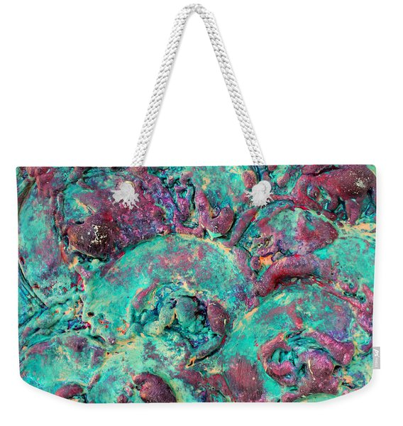 Turquoise 3d Sculpting Abstract Painting Weekender Tote Bag