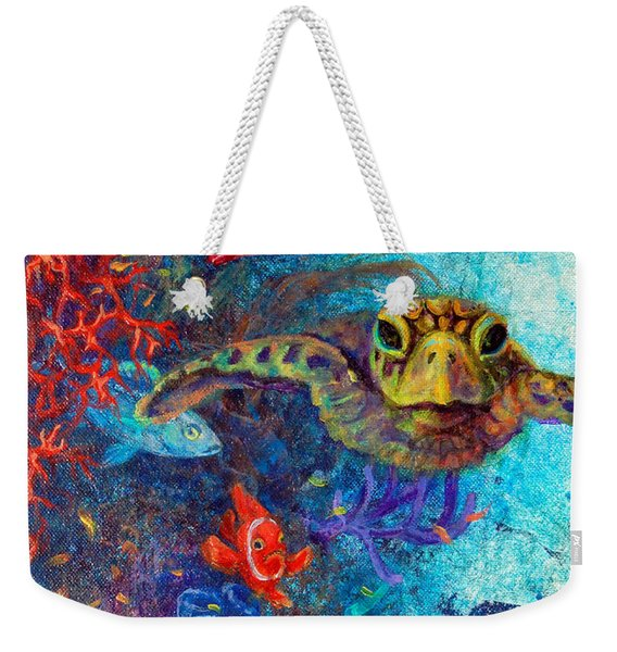 Weekender Tote Bag featuring the painting Turtle Wall 2 by Ashley Kujan