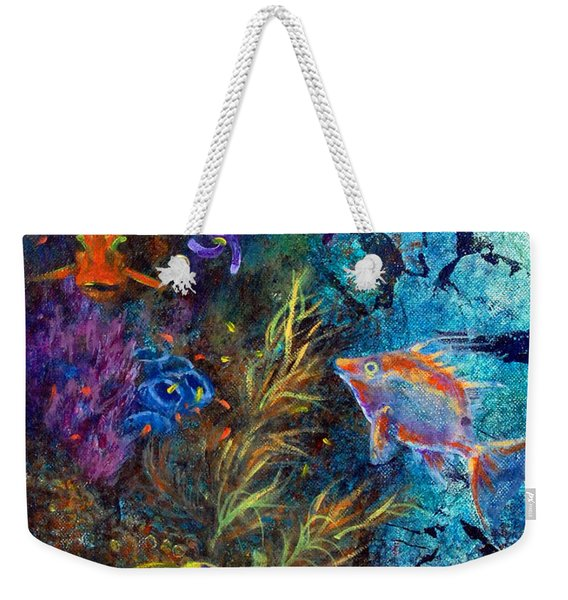 Weekender Tote Bag featuring the painting Turtle Wall 3 by Ashley Kujan