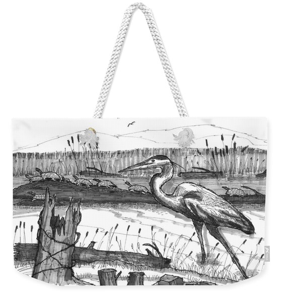 Turtles And Heron Weekender Tote Bag