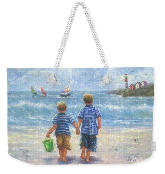 Two Beach Boys Walking Weekender Tote Bag