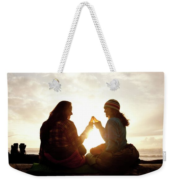 Two Beautiful Women And Toast A Beer Weekender Tote Bag