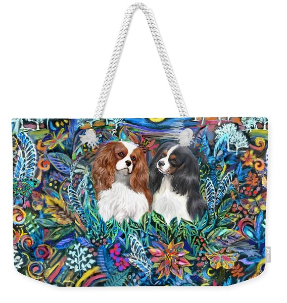 Two Cavaliers In A Garden Weekender Tote Bag