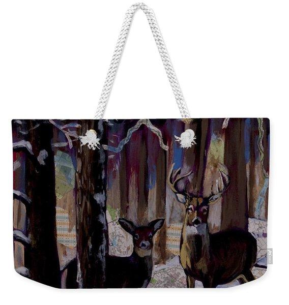 Two Deer In Snow In Woods Weekender Tote Bag