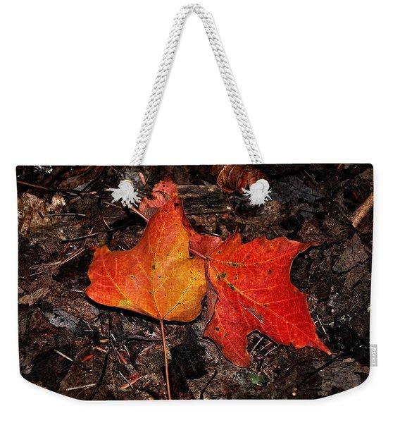 Two Fallen Autumn Leaves Weekender Tote Bag