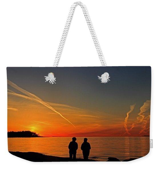 Two Friends Enjoying A Sunset Weekender Tote Bag