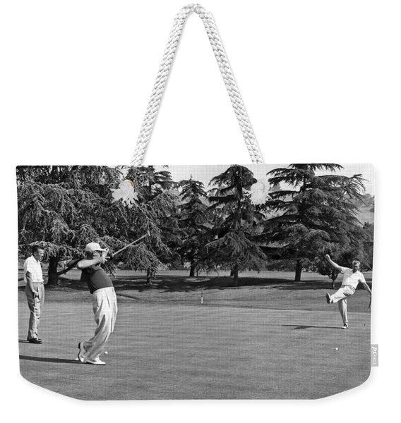 Two Golfers Body English Weekender Tote Bag