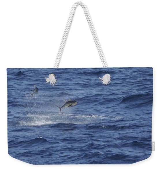 Two Jumping Yellowfin Tuna Weekender Tote Bag