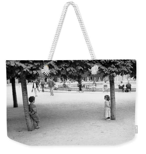 Two Kids In Paris Weekender Tote Bag
