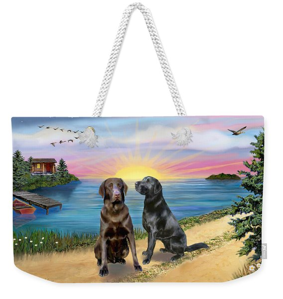 Two Labs At The Lake Weekender Tote Bag