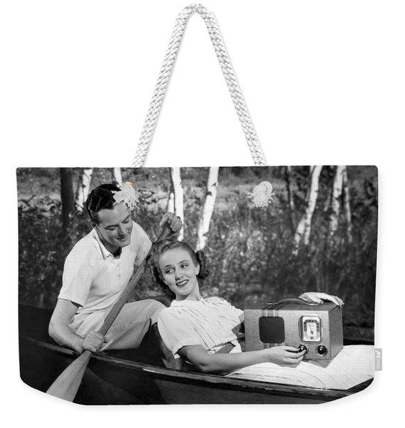 Two Lovers In A Canoe Weekender Tote Bag