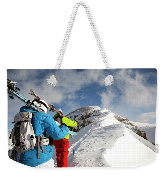 Two Male Skiers Hike For Their Turns Weekender Tote Bag
