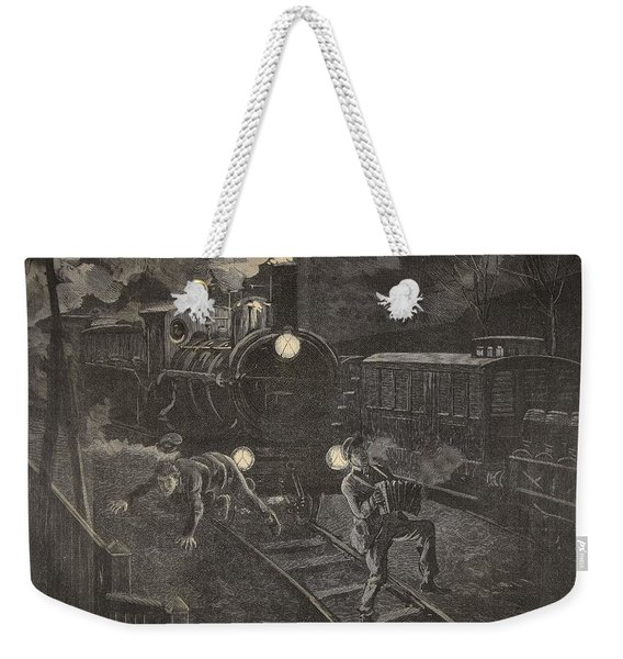 Two Men Hit By A Train Illustration Weekender Tote Bag