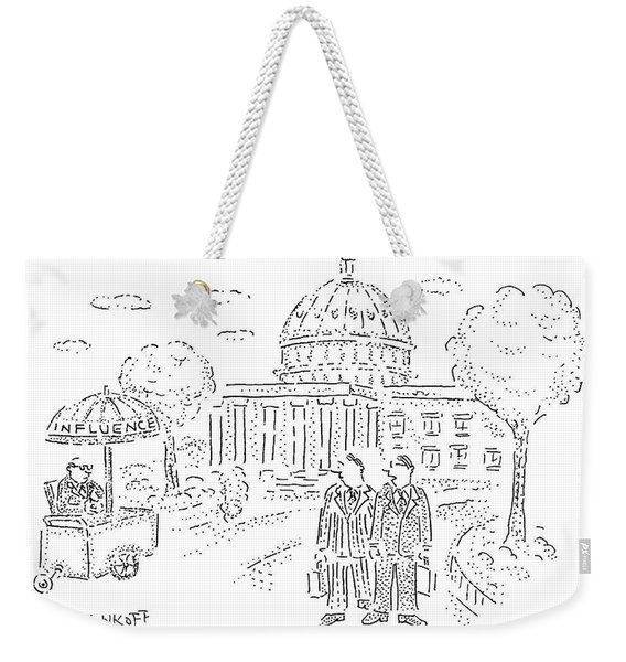 Two Men Speak In Front Of The Capitol And Look Weekender Tote Bag