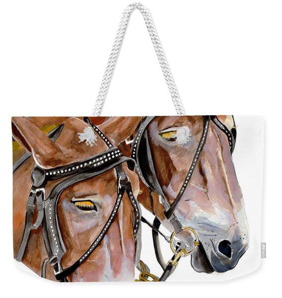 Two Mules - Enhanced Color - Farmer's Friend Weekender Tote Bag