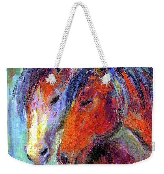 Two Mustang Horses Painting Weekender Tote Bag