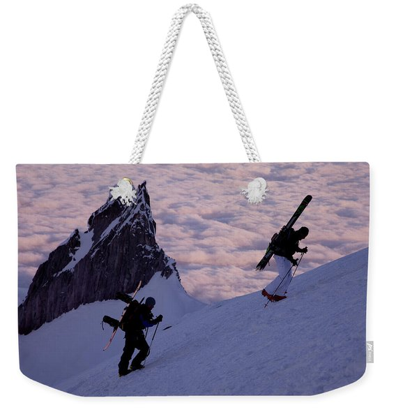 Two Skiers Enjoy A Early Spring Climb Weekender Tote Bag