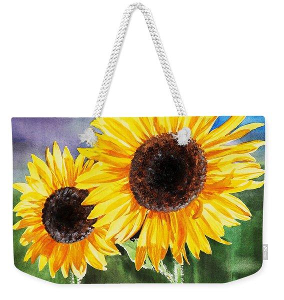 Two Sunflowers Weekender Tote Bag