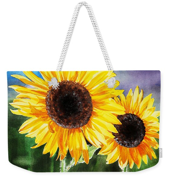 Two Suns Sunflowers Weekender Tote Bag