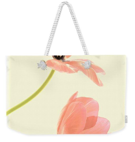 Two Tulips In Pink Transparency Weekender Tote Bag