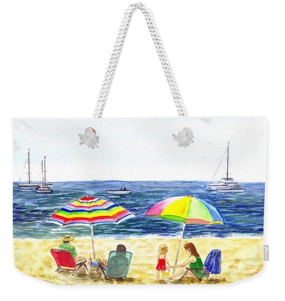 Two Umbrellas On The Beach California  Weekender Tote Bag