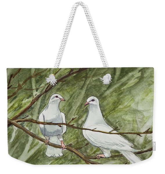 Two White Doves Weekender Tote Bag