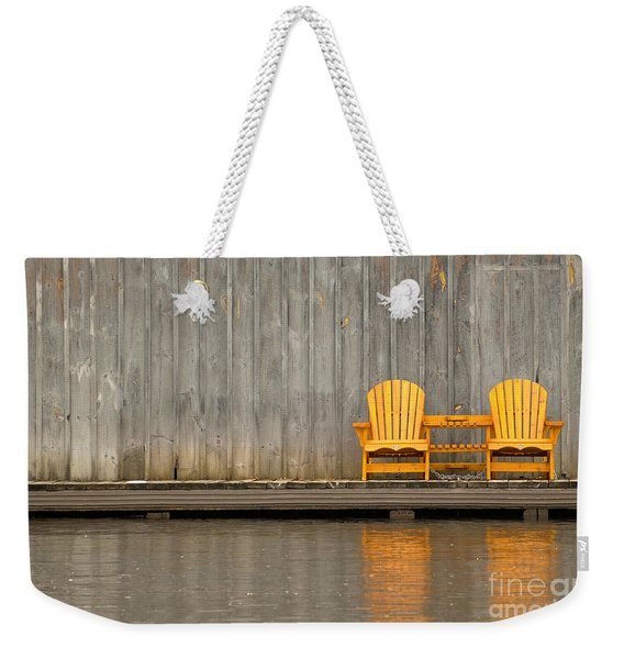 Two Wooden Chairs On An Old Dock Weekender Tote Bag