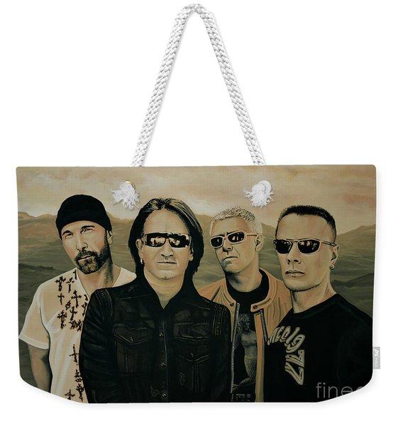 U2 Silver And Gold Weekender Tote Bag