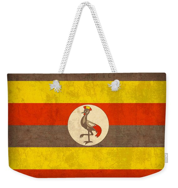 Uganda Flag Vintage Distressed Finish Weekender Tote Bag