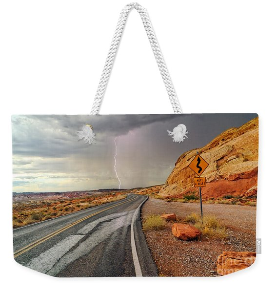 Uncertainty - Lightning Striking During A Storm In The Valley Of Fire State Park In Nevada. Weekender Tote Bag