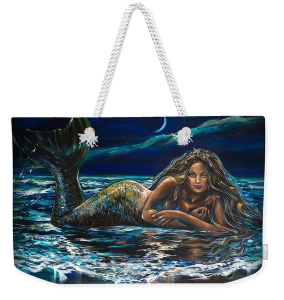 Under A Crescent Moon Mermaid Pillow Weekender Tote Bag