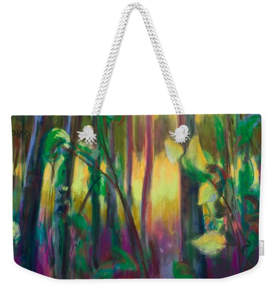 Weekender Tote Bag featuring the painting Unexpected Path - Through The Woods by Talya Johnson