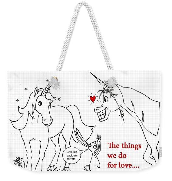 Unicorn Valentines Card Weekender Tote Bag