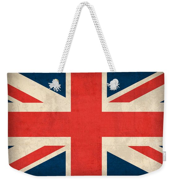 United Kingdom Union Jack England Britain Flag Vintage Distressed Finish Weekender Tote Bag