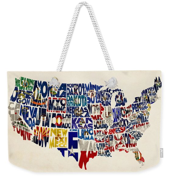 United States Flags Map Weekender Tote Bag