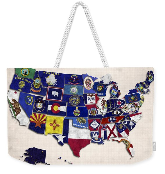 United States Map With Fifty States Weekender Tote Bag