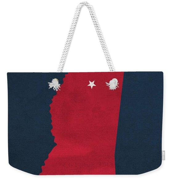 University Of Mississippi Ole Miss Rebels Oxford College Town State Map Poster Series No 067 Weekender Tote Bag