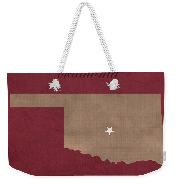 University Of Oklahoma Sooners Norman College Town State Map Poster Series No 083 Weekender Tote Bag