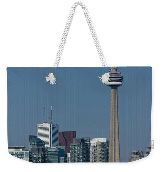 Up Close And Personal - Cn Tower Toronto Harbor And Skyline From A Boat Weekender Tote Bag