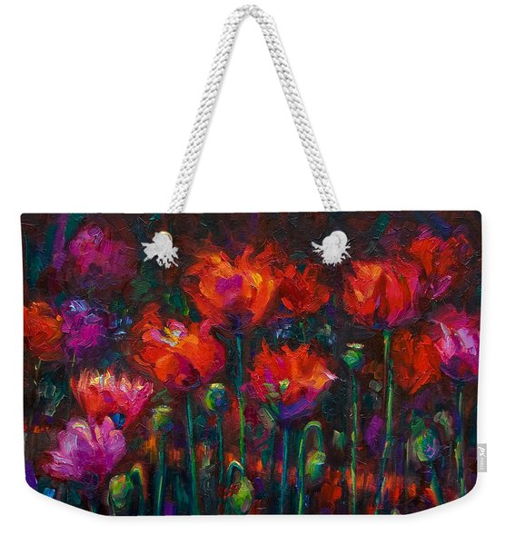Weekender Tote Bag featuring the painting Up From The Ashes by Talya Johnson