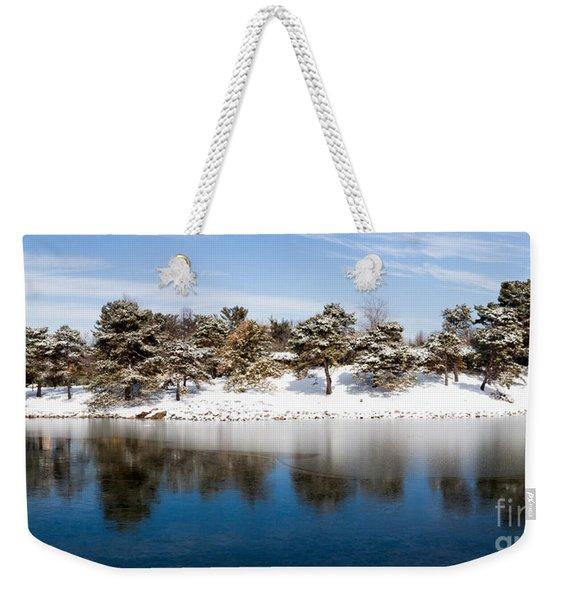 Urban Pond In Snow Weekender Tote Bag